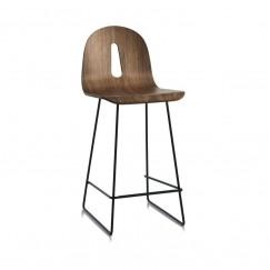 Barová dřevěná židle Gotham woody SL na ocelové podnoži